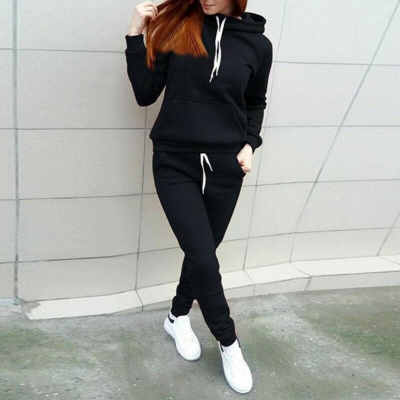 Women's Tracksuit Active Wear Hoodie Sweatshirt & Pants - 2 pc Set