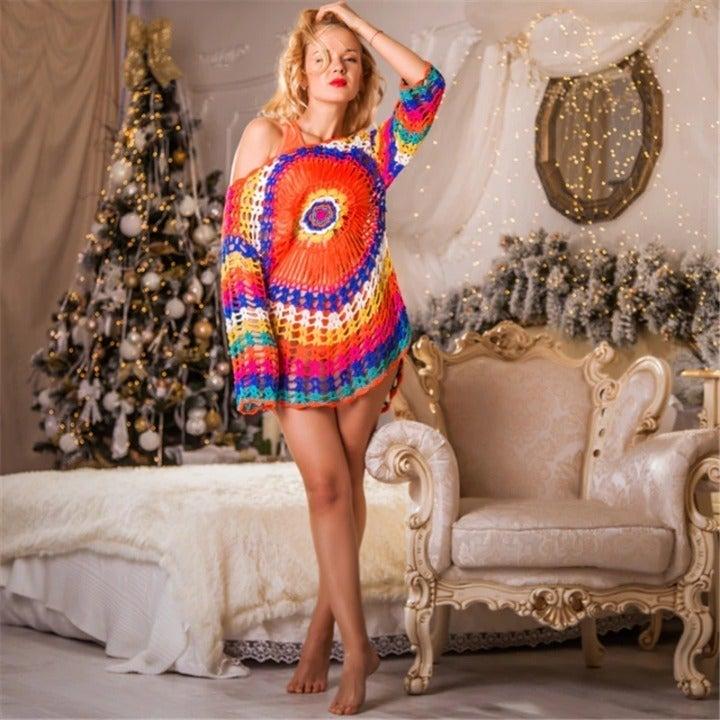 Hand knitted sun flower beachwear, Beach skirt - Bikini cover up