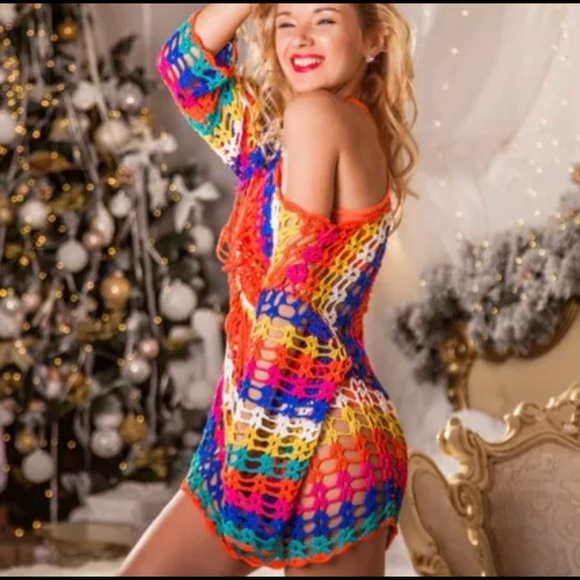 Colorful Beach skirt - Bikini cover up - Swimwear, Beach skirt - Bikini cover up