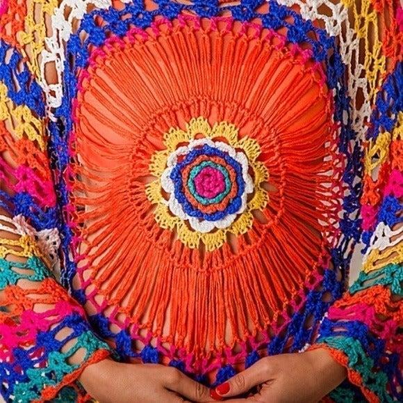 Hand knitted crochet style mesh beachwear, Beach skirt - Bikini cover up
