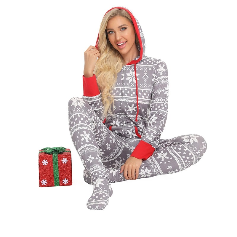 Christmas Onesie's Pajamas Family Set, Matching Family Pajamas with Hoodie, gray and red, floral pattern,