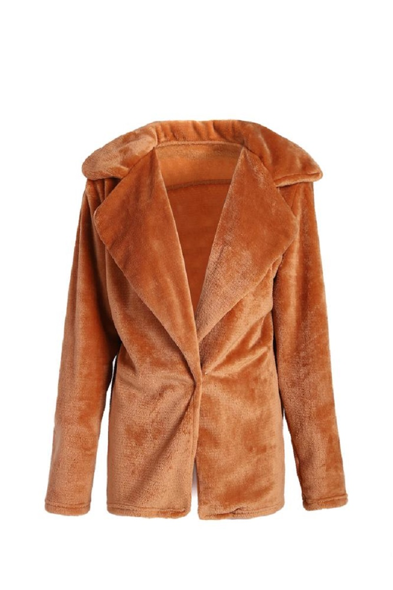 Faux Fur winter coat for women - Brown