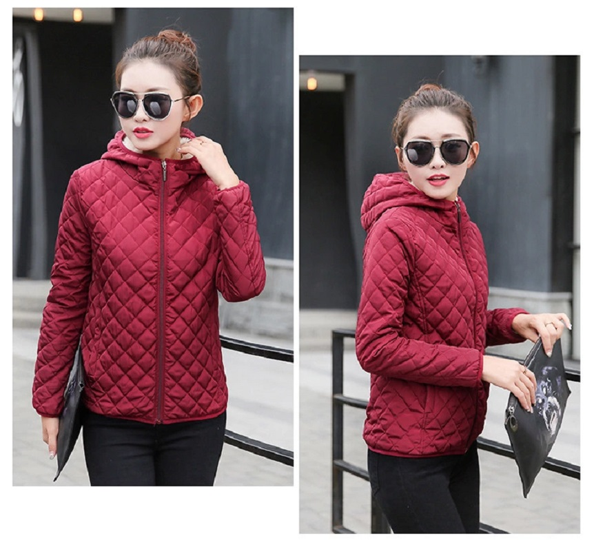 Trendy Short Hooded Winter Jacket, Burgundy, Fleece Lining - Polyester - Quilted Jacket - Full Sleeve