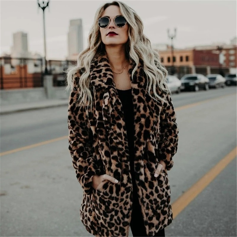Faux Fur winter coat for women - Leopard Print Design