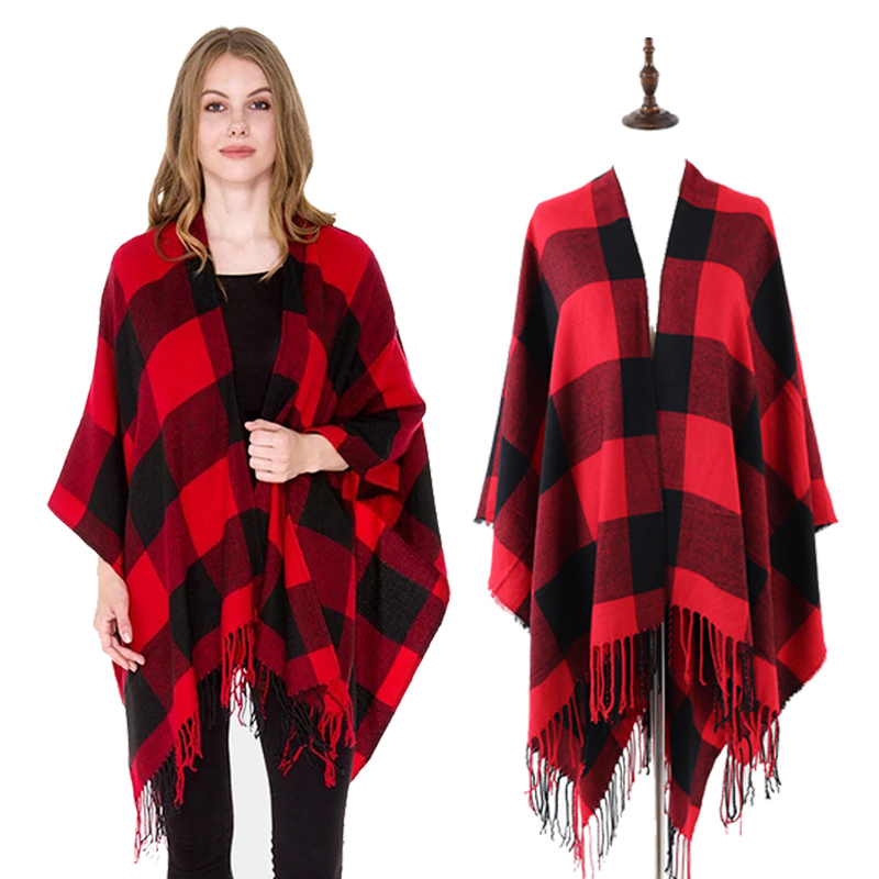 Red and Black Buffalo Poncho Wrap Shawl, Plaid, Check, buffalo print,