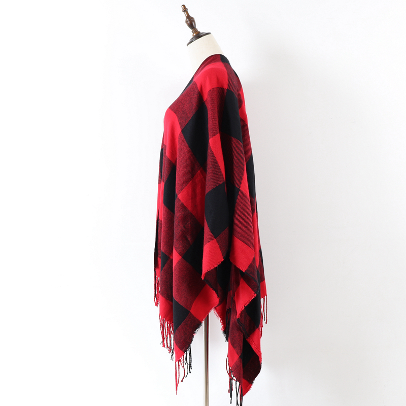 Red Buffalo Poncho Wrap Shawl