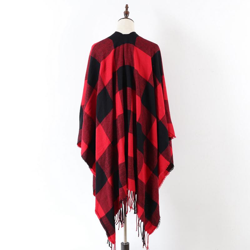 Red Buffalo Poncho Wrap Shawl