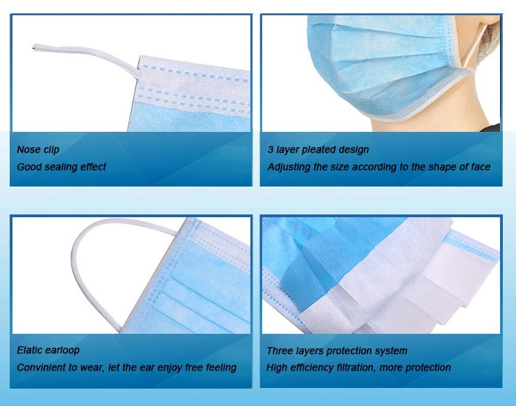 Disposable elastic earloop face mask,blue,medical,dental,anti virus,pollen,protection,