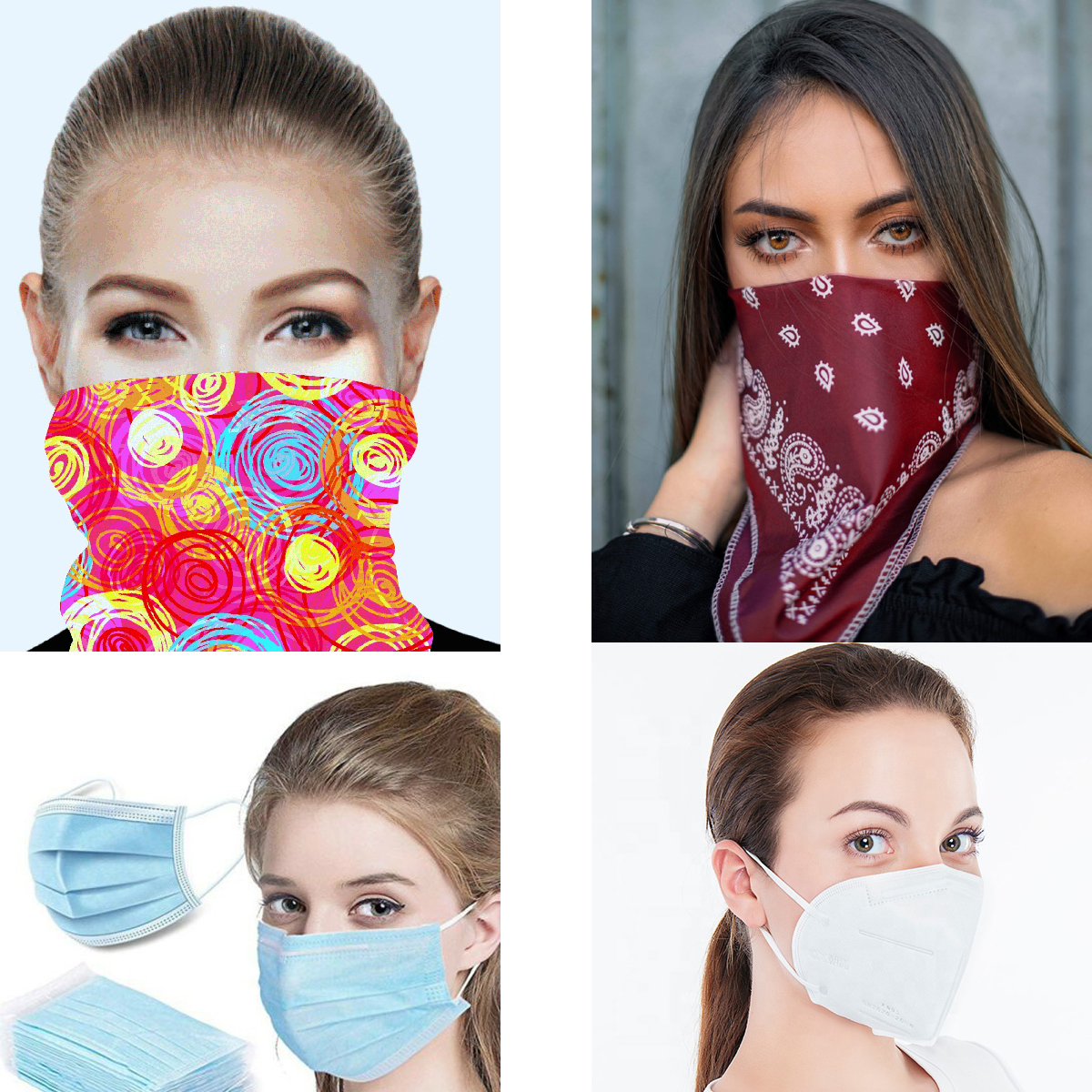 Mega Face Masks bundle includes tube bandanas, square bandanas, blue disposable face masks and the white KN95 disposable face masks