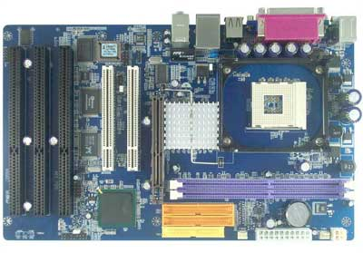 Pentium 4 socket 478 motherboard with 3 ISA slots, I845GV-3ISA. On-board audio, video and LAN