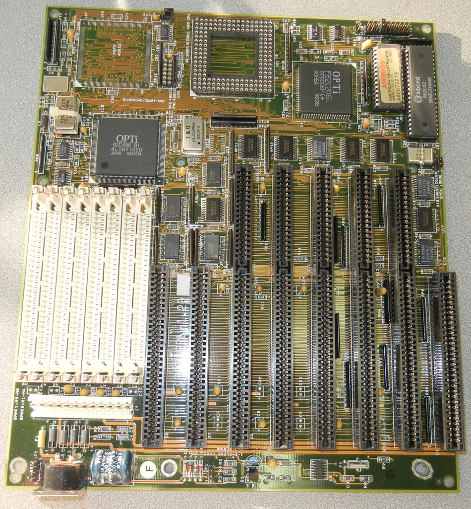 TMC PAT48PL 486 motherboard with 8 ISA slots.