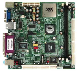 VIA EPIA-ML6000EAG C3 600MHz Motherboard, On-board VIA C3 processor, VIA CLE266 chipset, 1 DDR slot, 1 PCI, On-board Audio, Video, LAN, USB. Mini-ITX form factor.
