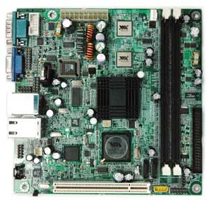 Dual On-board VIA EDEN-N processors, VIA CN400 chipset, 2 DDR, 1 PCI, SATA, On-board Audio, Video, Lan (3x), USB. Mini-ITX.