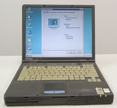 Windows 95 laptop with serial port and floppy drive, Compaq Armada E500,notebook,used laptop,