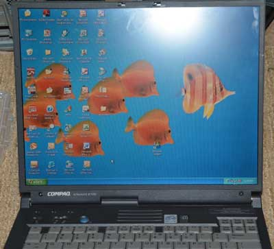Windows 95 laptop with serial port and floppy drive, Compaq Armada E700,notebook,used laptop,