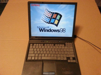 Windows 98 laptop with serial port and floppy drive