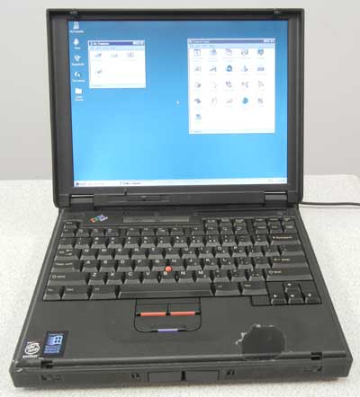 IBM Thinkpad 380z, laptop with windows 95, serial port, floppy drive,